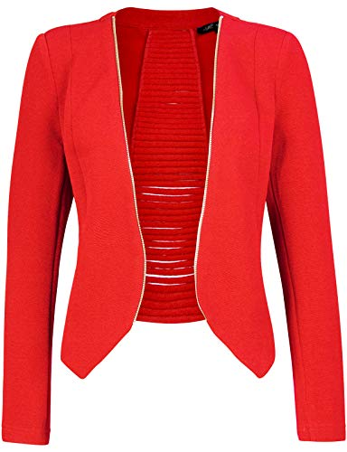 Michel Women's Open Front Lightweight Cardigan Blazer Jacket Coral Large