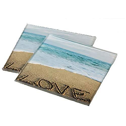 26 Fashioncraft Set of 2 Glass Beach Love