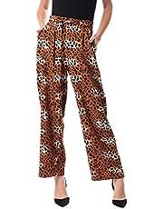 Jamila Cotton Leopard Pattern Front-Tie Side-Pocket Wide Leg Pants for Women - Multi Color, 3XL
