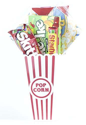 Movie Night Popcorn and Candy Gift Basket ~ Includes Movie Theater Butter Popcorn and Concession Stand Candy (Mike and Ikes)