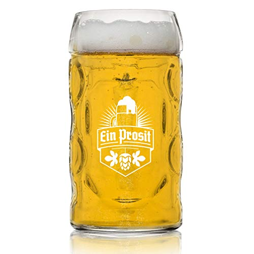 Nucleated .5L Oktoberfest German Beer Mug with Handle (22 oz.) Classic Stein with Dimpled Glass Finish- Nucleated for Better Head Retention, Aroma and Flavor Vintage Party Brew Tankard, Thick, Durable