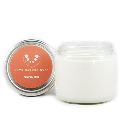 - LOVE NATURE NYC Natural Soy Candle Jar, Pumpkin Spice Scented, 60 Hours, Clean Burning Non-Toxic, Fragrance Notes of Pumpkin, Clove, Nutmeg and Cinnamon