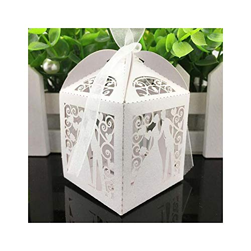 50pcs Laser Cut Bride and Groom Candy Box Baby Shower Gift Box Wedding Favors and Gifts Wedding Decoration Event Party Supplies,White,5x5x8cm