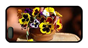 Cool iphone 5 case most protective Pansy flowers and calendula TPU Black for Apple iPhone 5/5S