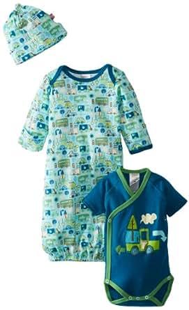 Zutano Baby-Boys Newborn Road Trip Gown Short Sleeve Wrap and Hat Set, Multi, Newborn