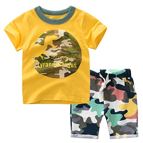 WOCACHI Toddler Kids Baby Boys Cartoon Dinosaur T Shirt Tops Camo Shorts Outfits Set 0-3M 0-6M 3-6 Mos 6-9M 9-12M 6-12M 12-18M 18-24M 0-3T 0-24 Months 2 Years and Up 2T 3T