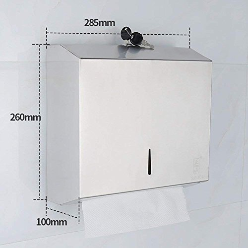 L.I. Bathroom Toilet roll Holder Storer Fixed to The Wall in Stainless Steel Tissue Box Punch, 144 95 142mm (Square of - Square 144 Holders