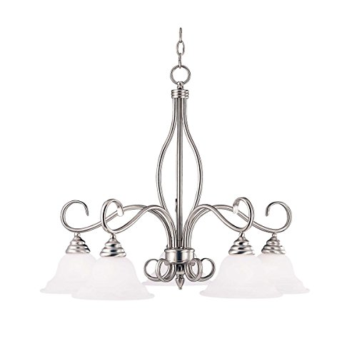 Savoy House KP-SS-101-5-69 Chandelier with White Faux Alabaster Shades, Pewter Finish