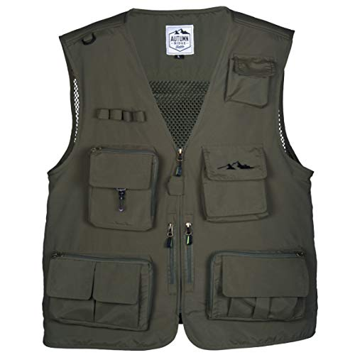 Fly Fishing Photography Climbing Vest with 16 Pockets made with Lightweight Mesh Fabric for Travel, Sports, Hiking, Bird Watching, River Guide Adventures, Safaris and Hunting (Green, XXX-Large)