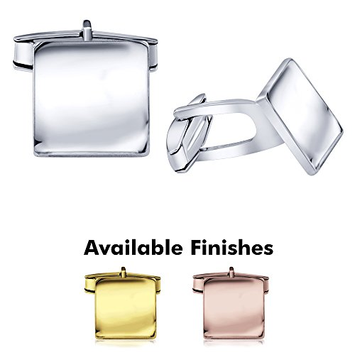 Men's Sterling Silver .925 Square Cufflinks, Italian Designed and Made, High Polished by Hand, Elegant Design, Secure Solid Hinges, Sleek and Stunning. Engravable, measuring 14mm (Design Silver Sterling Square)