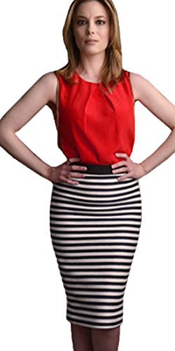 Homeyee Women Fashion Striped Wear to Work Pencil Summer Dress S07 (Large Red)