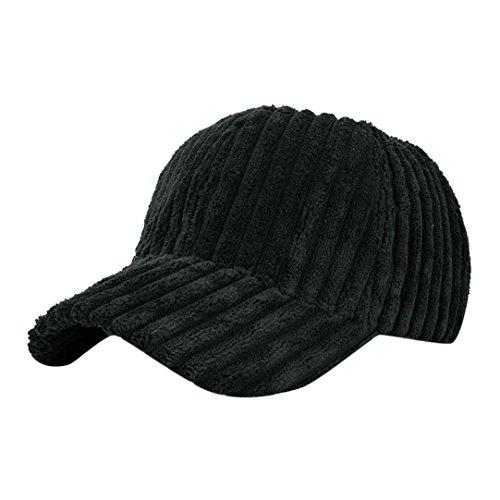 Sun Hat,Enjocho Women Men Corduroy Soft Stripe Baseball Cap (Black)