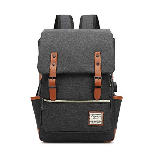 "Supease Vintage Slim School Backpack With USB Charging Port For 15.6"" Notebook (Black)"
