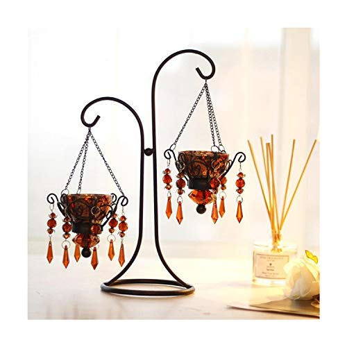 (Retro Wrought Iron Glass Candle Holders Crystal Jewels Amber/Silver Candlestick Holder for Wedding Home Decoration,Amber 2)