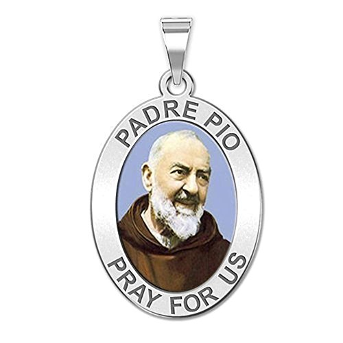 PicturesOnGold.com Padre Pio - Oval - 2/3 X 3/4 Inch Size of Nickel, Solid 14K Yellow Gold with Engraving
