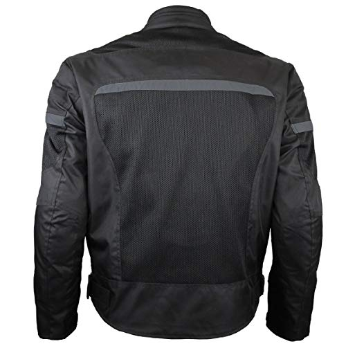(Mens Motorcycle Perforated Textile Reflective Mesh Riding 3 Season Jacket with CE amors (4XL))