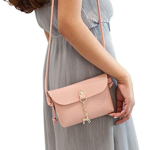 Color Pink Daliuing Headset Crossbody Solid for Fashion Pink Phone Single Small Bag Handbag Leather Durable Bag Shoulder Pouch Makeup xqfFqwgTY