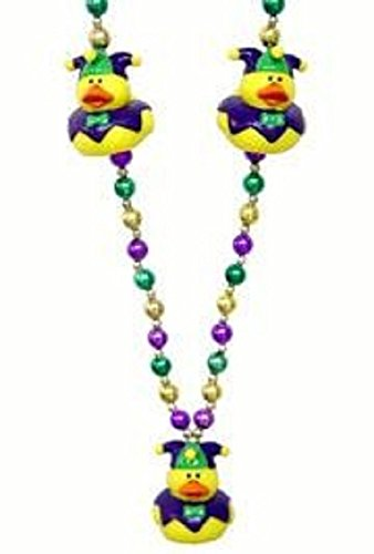 Jester Hat Craft - Mardi Gras, Jester Rubber Duck Beads, Necklace, 42