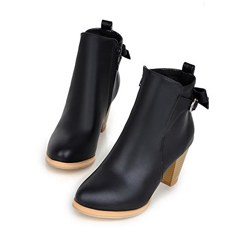Toe Round Black Solid High Women's Allhqfashion Boots Zipper Heels Closed qwY66v