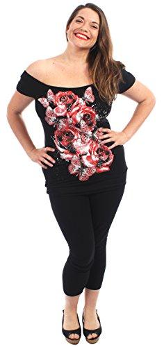 florale Black Chocolate Encolure T Shirts beurre Pickle Hauts Red Roses Paillettes Nouveaux Mesdames Volez wqZ0OxqU4
