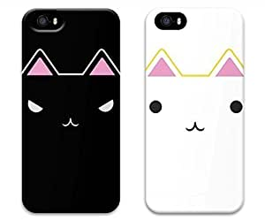 Brian114 Lovers Case For Iphone 5/5S Cover - Set of 2 Cute Cute Cats Lover Boy And Girl Boyfriend and Girlfriend Couples Matching Cell Phone Cases for Case For Iphone 5/5S Cover - Valentines Gift