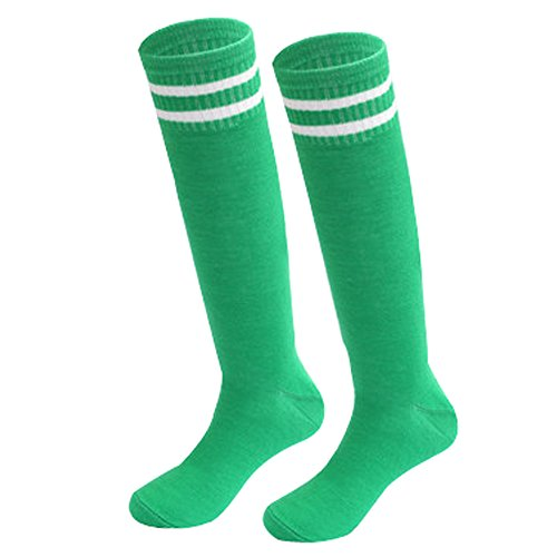 Teens Soccer Socks 2 Pack Boys Girls Cotton Knee Long Team Socks Children Sport Socks Children's knee-mean long barrel Soccer socks (green, Standard section)