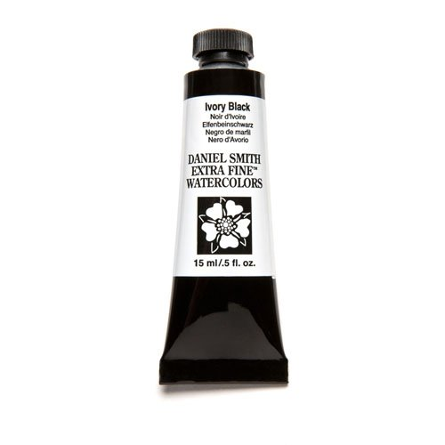 ine Watercolor 15ml Paint Tube, Ivory Black (Moonglow Stone)