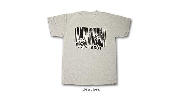 Banksy, código de Barras Cárcel Camiseta de Manga Corta (tamaño pequeño – 4 x l) 100% algodón: Amazon.es: Ropa y accesorios