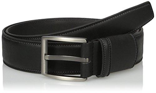 Van Heusen Men's Leather Flex Stretch Belt With Matte Gunmetal Brushed Buckle, black, 38 (Mens Leather Vans Belt)