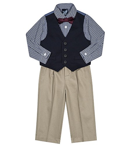 Nautica Boys' 4-Piece Vest Set with Dress Shirt, Bow Tie, Vest, and Pants, Twill Blazer Blue, 6/9 Months