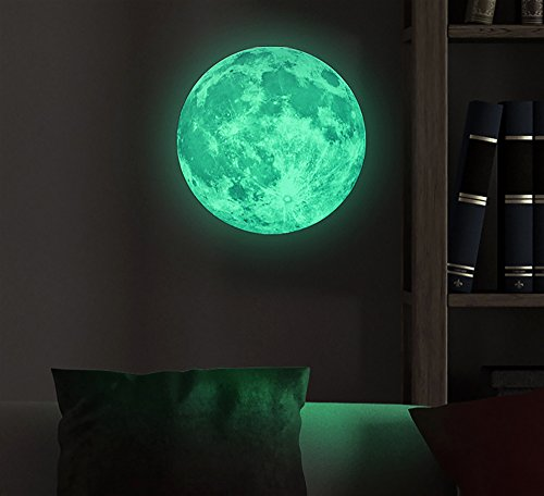Great Marsway Creative 30cm Glow In The Dark Moon Night Luminous Stickers  Removable Adhesive Wall Decal