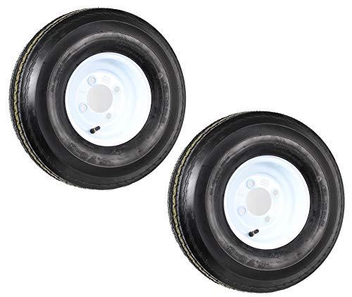 eCustomRim Two Trailer Tires On Rims 5.70-8 570-8 5.70 X 8 8 in. B 4 Lug Bolt Wheel White ()