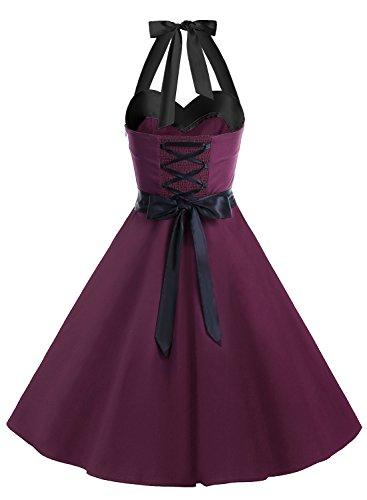 DRESSTELLS Vintage 1950s Rockabilly Polka Dots Audrey Dress Retro Cocktail Dress Burgundy Black M by DRESSTELLS (Image #1)