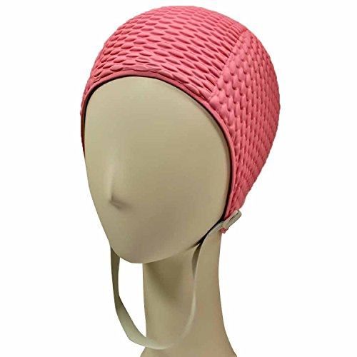 Silicone Swim Cap - Women Stylish Swimming Cap Great For Ladies, Perfect To Keep Hair Dry - Suitable For Long Hair - Bubble Crepe With Chin Strap - Light - Chin With Strap Cap Swim