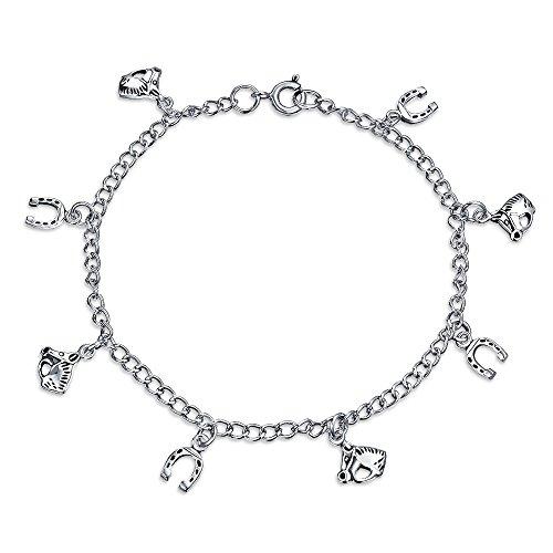 (Good Luck Multi Horseshoe Horses Charm Bracelet For Women Graduation Gift Cubic Zirconia Pave CZ 925 Sterling Silver)