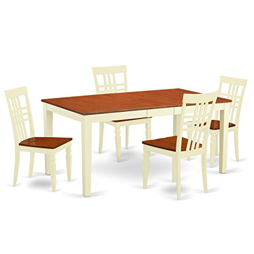 East West Furniture NILG5-BMK-W 5 PC Nicoli Table & 4 Wood Dining Chairs in Buttermilk & Cherry Finish