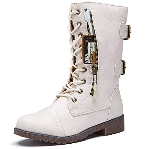 DailyShoes Women's Military Lace Up Buckle Combat Boots Mid Knee High Exclusive Credit Card Pocket, Ivory White, 5.5 B(M)
