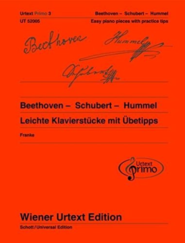 Urtext Primo 3 Easy Piano Pieces with Practice Tips Beethoven -Schubert - Hummel