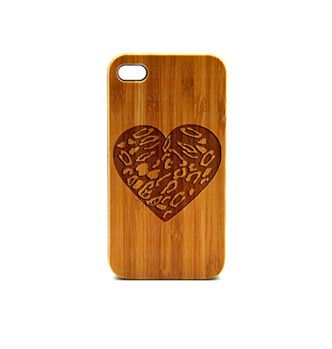 Krezy Case Real Wood iPhone 4s Case, Heart pattern iPhone 4s Case, eyes iPhone 4s Case, Wood iPhone Case,