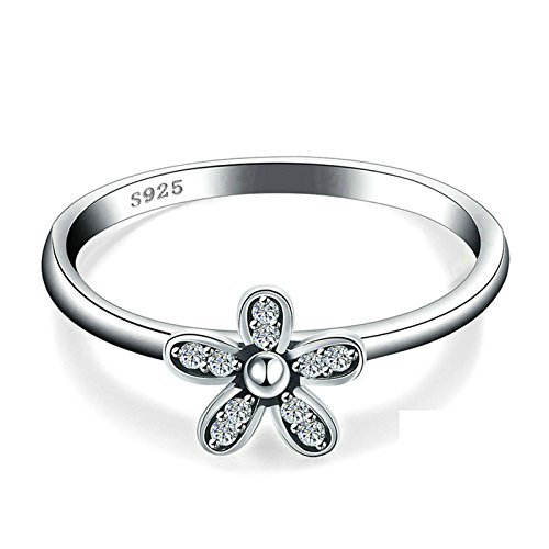 ANAZOZ S925 Silver Flower Cubic Zirconia Women Delicate Engagement Band Ring Size 8