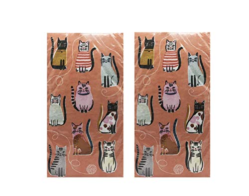 Cool Cats 2-Ply Disposable Paper Guest Towels/Buffet Napkins Pack of 2 (20-ct Each)