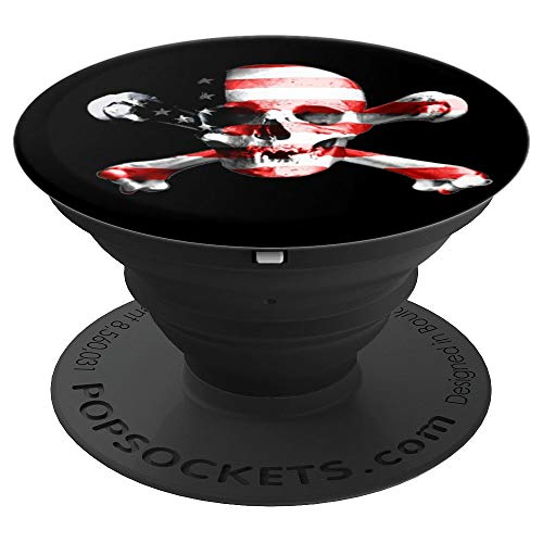 Skull and Crossbones USA Flag Scary Halloween - PopSockets Grip and Stand for Phones and Tablets