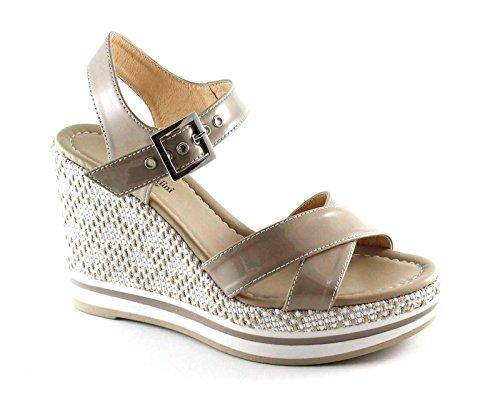 NEGRO JARDINES 17700 arena zapatos sandalias de cuña hebilla de cuero de las mujeres Beige