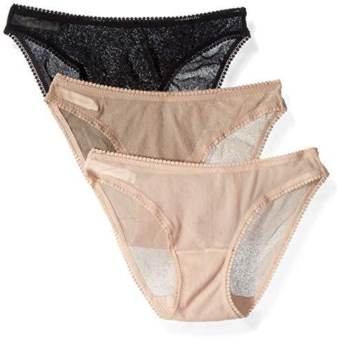 OnGossamer Women's Mesh Low-Rise Bikini Panty, Champagne Multi (3 Pack), Medium