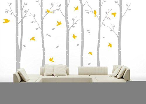 Yanqiao PVC Removable Wall Decal Birch Tree Wall Decals for Nursery Wall Stickers Living Room Decor,Light (Outside Decorating Ideas)