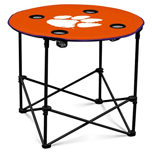 Clemson Tigers Collapsible Round Table with 4 Cup Holders and Carry Bag from Logo Brands