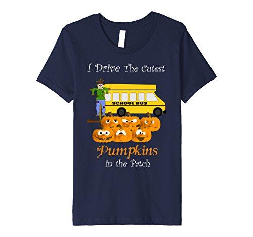 School Bus Costume For Kids (Kids School Bus Driver I Drive Cutest Pumpkins Halloween T- Shirt 12 Navy)