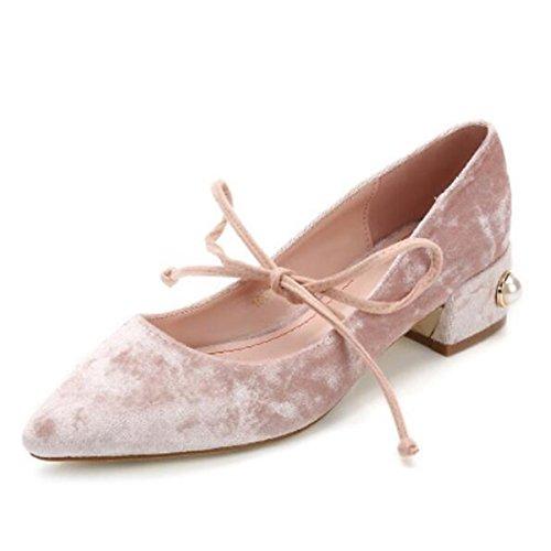DIMAOL Chaussures Femmes de Réconfort Printemps Velvet Heels Talon Chaussures Orteil Fermé Pour Rose Bleu Décontracté en Plein Air,Noir,Rose US5.5/EU36/UK3.5/CN35