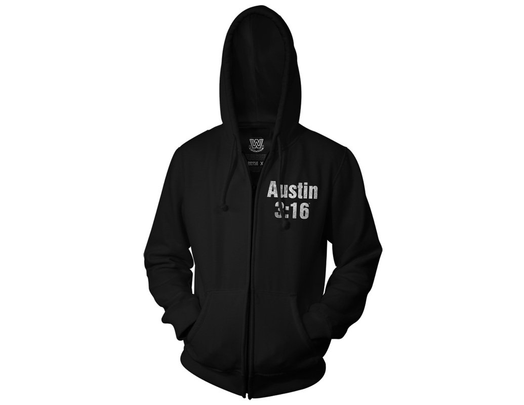 Ripple Junction WWE Stone Cold Steve Austin Smoking Skull Adult Zip Hoodie Large Black by Ripple Junction