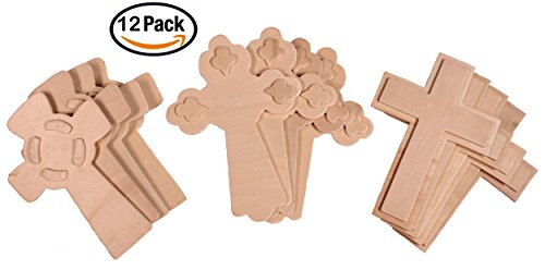 Creative Hobbies 5.5 Inch Unfinished Wooden Crosses, Pack of 12, Ready to Decorate, 3-D Raised Designs for $<!--$8.99-->